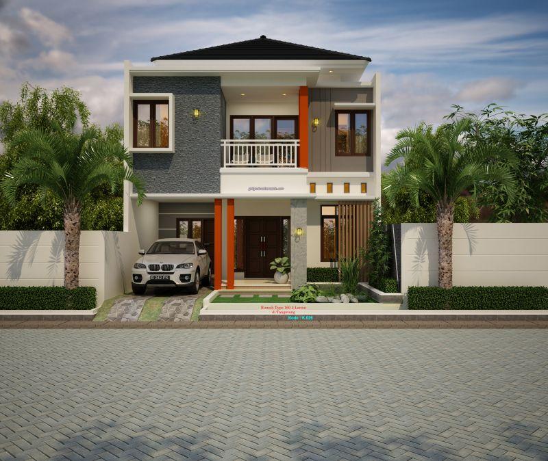 Gambar Desain Rumah 2 Lantai Ukuran Lebar 8 x 15 Meter Minimalis