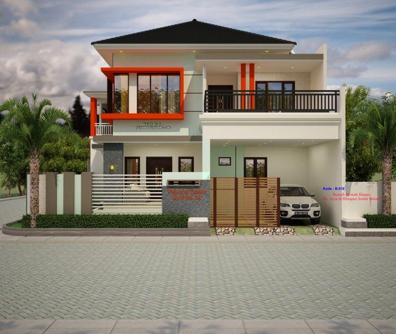 Desain gambar rumah mewah minimalis modern 2 lantai ukuran lebar 13 x 17 meter type 300 elegan