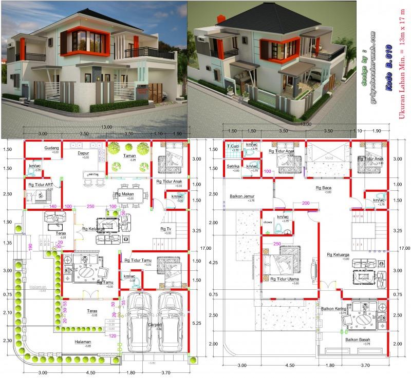 Gambar denah rumah mewah 2 lantai hook ukuran lebar 13 x 17 meter type 300 6 kamar tidur