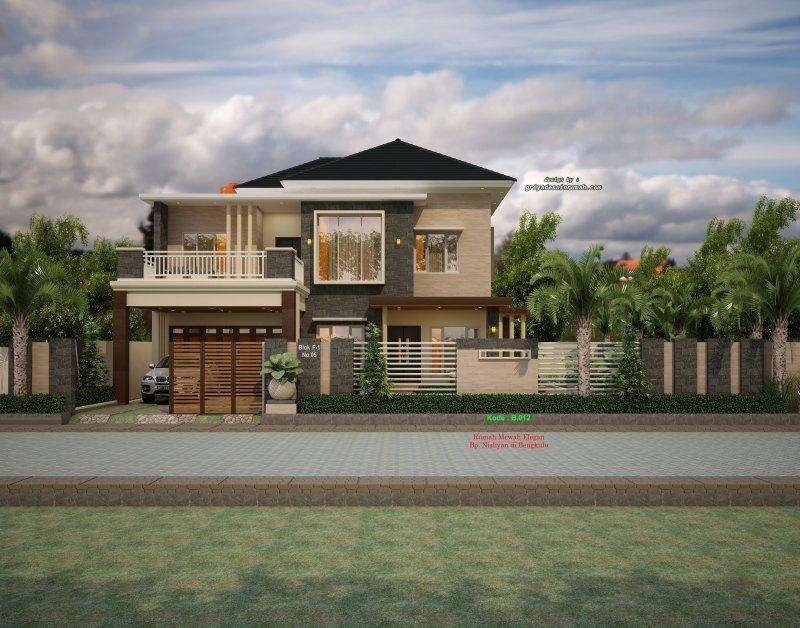 Desain Gambar Rumah 2 Lantai Mewah Elegan Hook 2 Muka Jalan Type 320