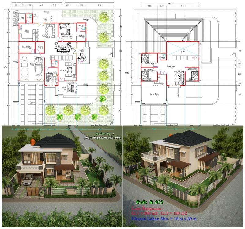 Gambar Denah Rumah 2 Lantai Mewah Lahan Ukuran Lebar 18 x 20 Meter Pojok Hook Bangunan Type 320 dengan 6 Kamar Tidur