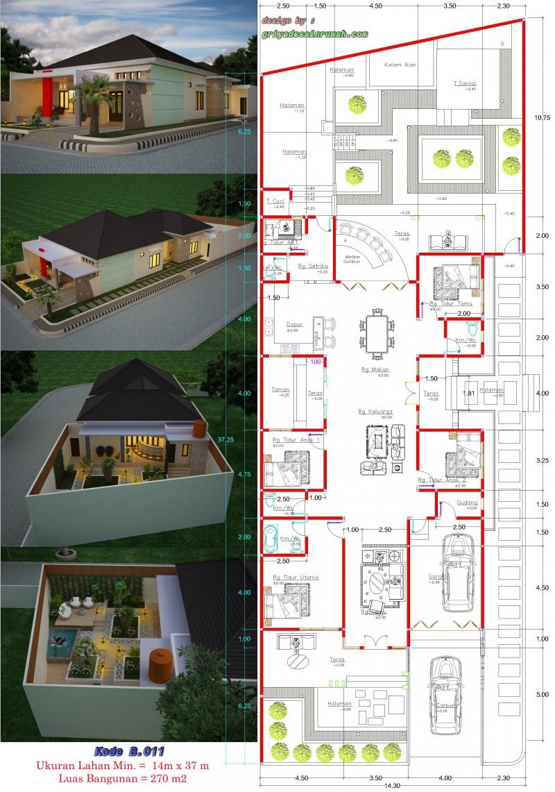 gambar denah rumah 1 lantai ukuran 12 x 26 meter hook 5 kamar tidur type 270
