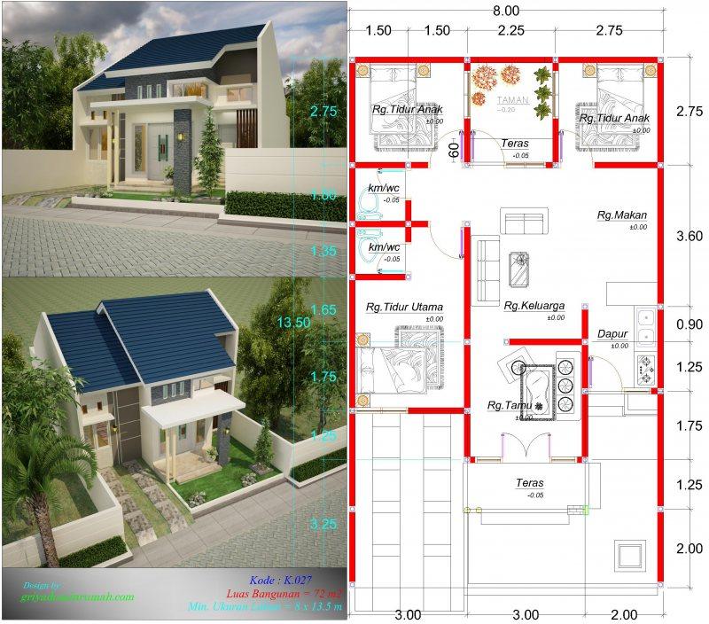 Gambar Denah Rumah Minimalis Type 72 Ukuran Lahan Lebar 8 Meter 1 Lantai 3 Kamar Tidur