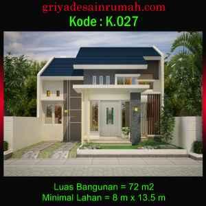 Denah Rumah Minimalis Type 72 Lebar 8 Meter