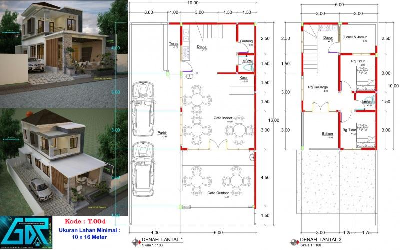 Gambar Denah Desain Ruko 2 Lantai Ukuran Lahan 10x16 Meter 2 Kamar Tidur