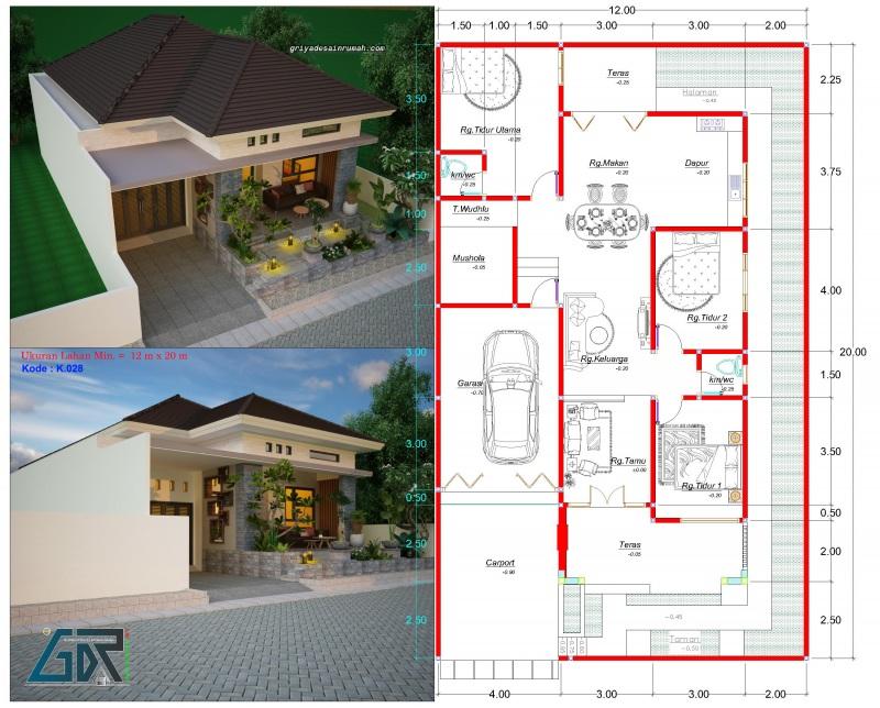 gambar denah rumah type 150 ukuran 12 x 20 meter 3 kamar tidur