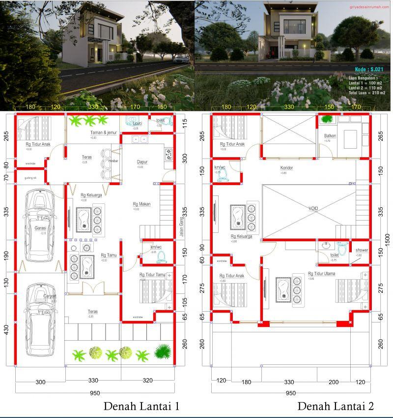 gambar denah rumah 2 lantai 5 kamar tidur ukuran 9,5x15 meter