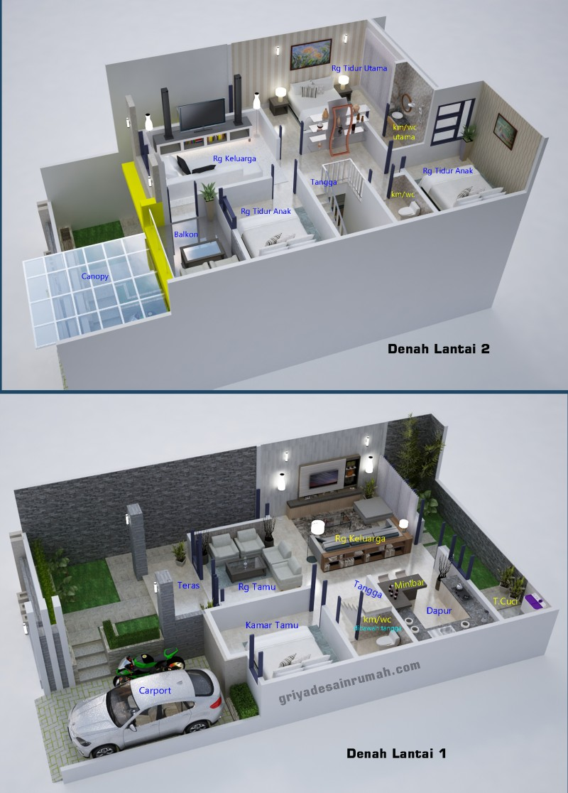 Desain Denah Rumah 2 Lantai 4 Kamar Tidur