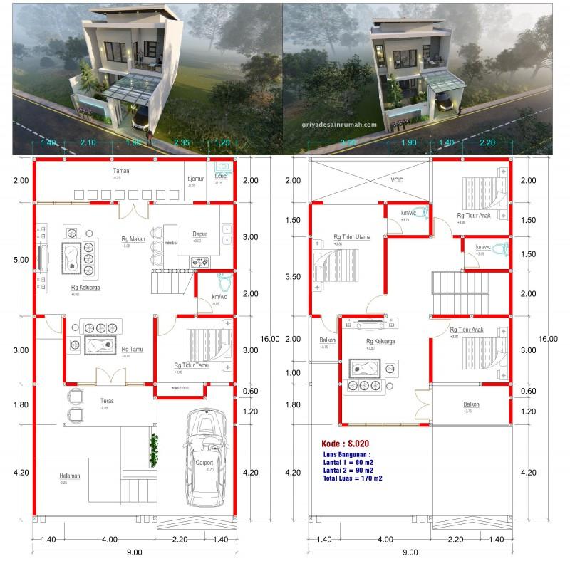 Gambar Denah 2 Lantai Type 170 Ukuran 9x16 Meter 4 Kamar Tidur
