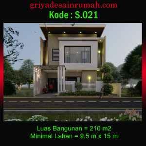 Denah Rumah 2 Lantai Mewah Modern Ukuran 9,5×15 Meter 5 Kamar Tidur