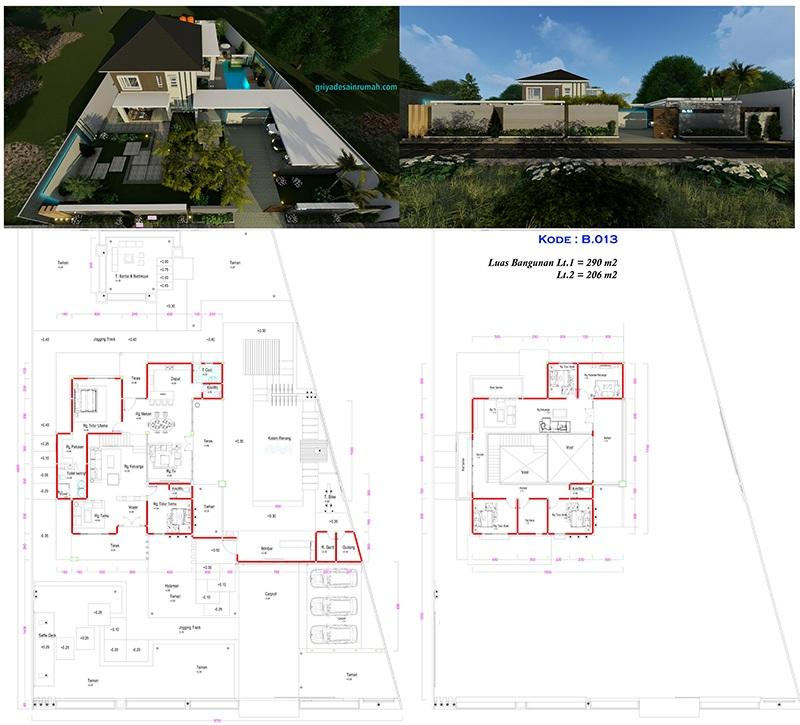 Desain gambar denah rumah villa 2 lantai kolam renang 5 kamar tidur