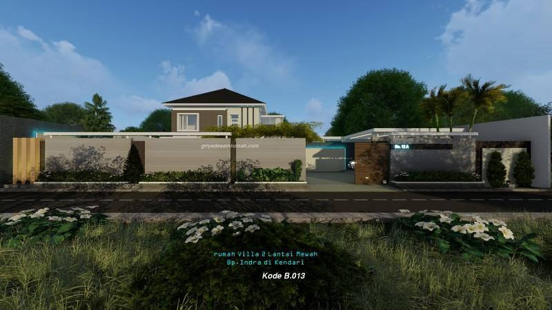 Desain rumah villa 2 lantai mewah modern