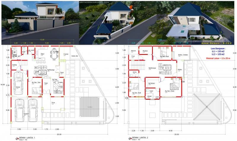 Gambar desain denah rumah 2 lantai ukuran 13x16 Hook 5 Kamar Tidur