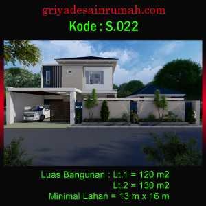 Rumah Minimalis 2 Lantai 13×16 Meter Hook 5 Kamar Tidur