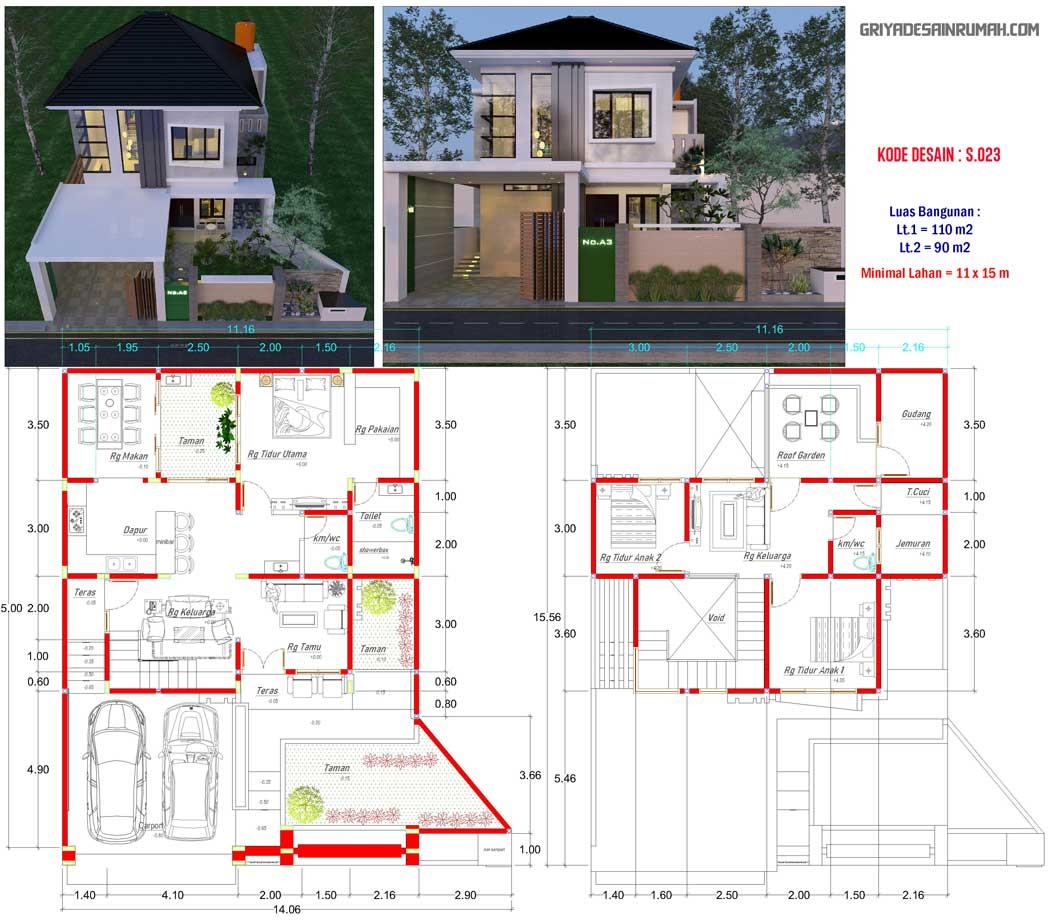 Denah rumah 2 lantai 3 kamar tidur ukuran 11x15 meter type 200