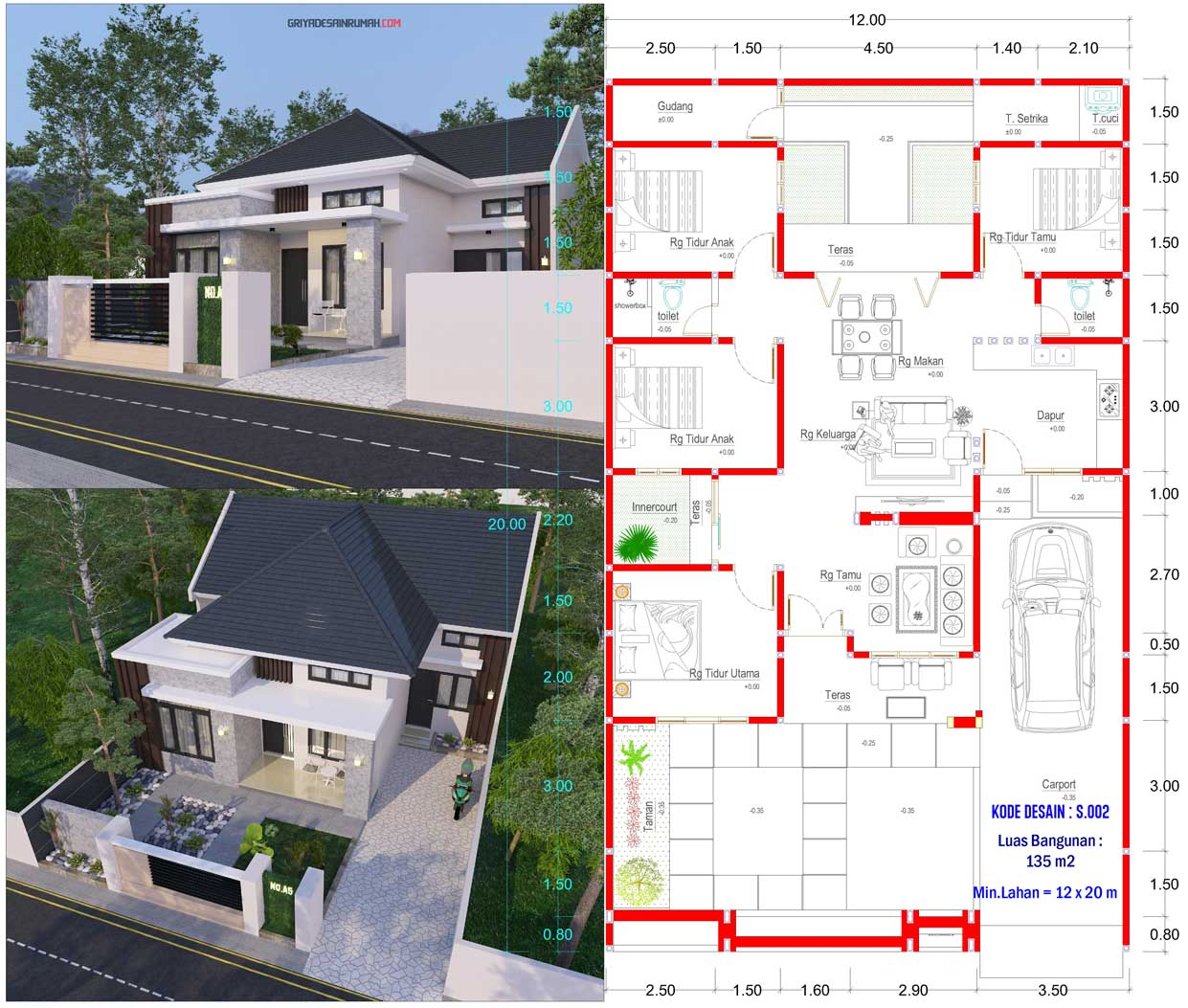gambar denah rumah 1 lantai ukuran 12x20 meter 4 kamar tidur