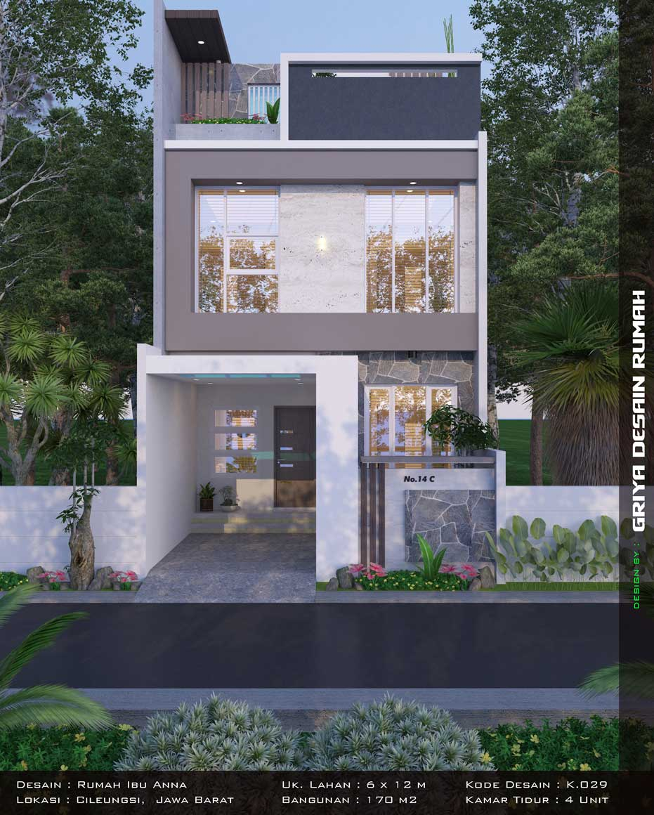 desain rumah minimalis modern lebar 6 meter 3 lantai