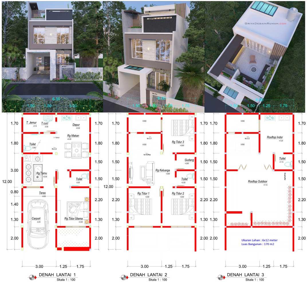 gambar desain denah rumah minimalis modern lebar 6 meter 3 lantai